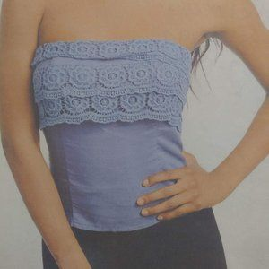 💙Blue Crocheted Strapless Cropped Blouse: (S L)💙